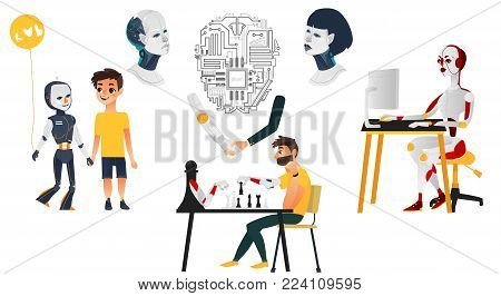 Artificial intelligence set, robot companions, androids, cyborgs, flat cartoon vector illustration isolated on white background. Set of robots, androids playing chess, using computer, making friends