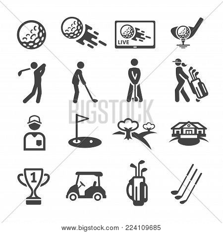 golf icon set,sport and recreation icon,vector illustration