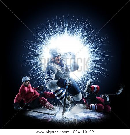 Ice Hockey players are skating on a abstract background with intensional light
