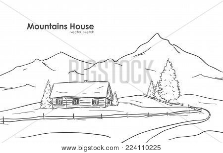 Vector illustration: Hand drawn sketch of landscape with mountains house.