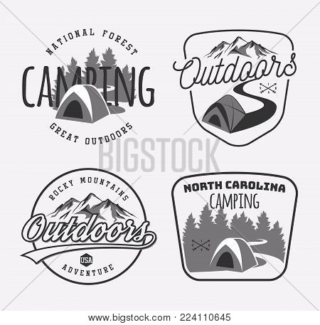 Set of vintage camping and outdoor adventure emblems, logo and badges. Camp tent in forest or mountains. Camping equipment. Vector.