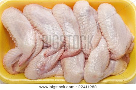 raw chicken wings in a package