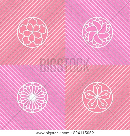 Flower lineart set isolated on white background. Stock vector illustration of widely spread flowers, floral elements in geometric minimal style.