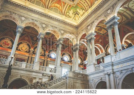 Washington D.C., USA, october 2016: Interior of the great hall of the library of congress in Washington D.C., USA