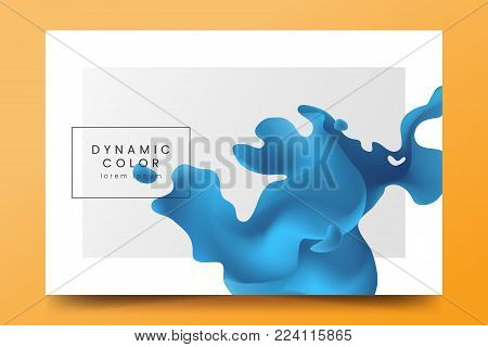 Minimalistic horizontal background with abstract blue liquid shape. Backdrop with fluid color wave. Vector Template for banner, web page, music event invitation, poster, flyer, magazine page.