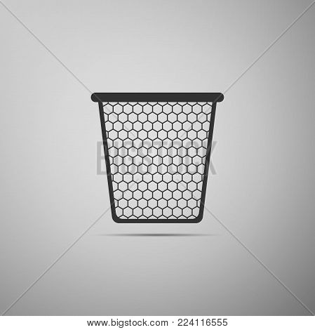 Trash can icon isolated on grey background. Flat design. Vector Illustration