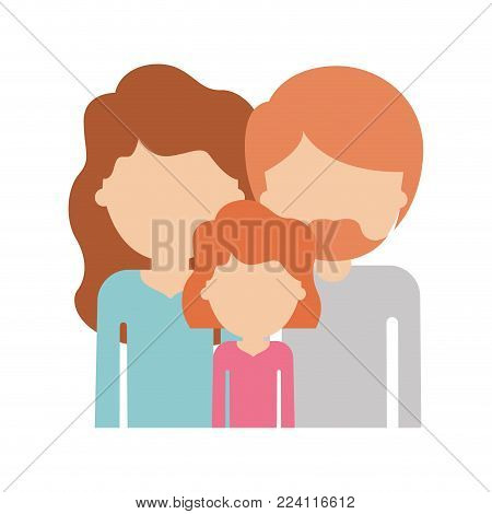 half body faceless people with woman and girl with wavy hair and man with beard in colorful silhouette without contour vector illustration