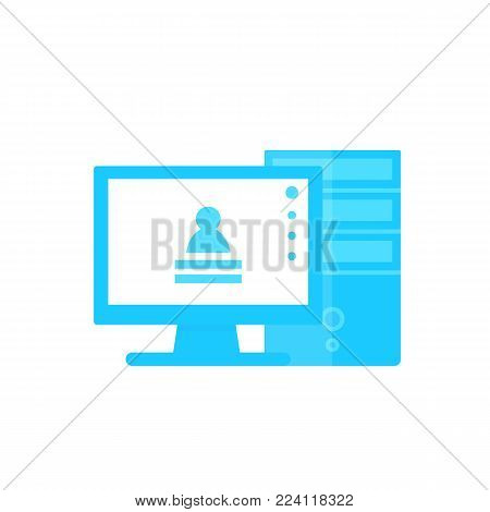 workstation computer vector illustration, flat style, eps 10 file, easy to edit