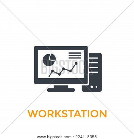 workstation icon on white, eps 10 file, easy to edit