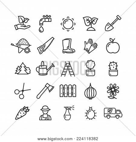Gardening Signs Black Thin Line Icon Set Include of Carrot, Scissors, Irrigation, Fertilizer, Pruner, Sprout and Insect. Vector illustration