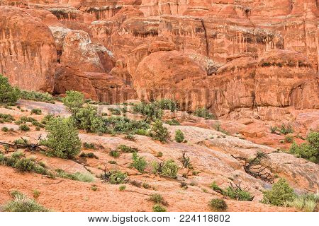 Landscape a look on the rocks of the Arches National Park. It's home to over 2,000 natural sandstone arches. In addition to a variety of unique geological resources and formations.