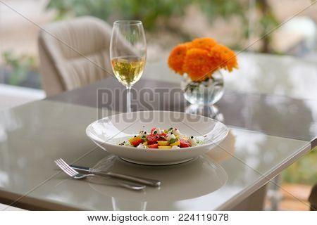 Restaurant serving table. Healthy food. Proper nutrition. Leisure concept