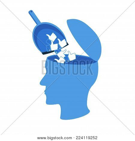 Mind pollution by social media concept. Stock vector illustration of open human head and like icons as garbage in it isolated on white background.