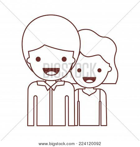 half body people with boy in shirt long sleeve and short hair and girl in t-shirt sleeveless and short wavy hair in brown contour vector illustration