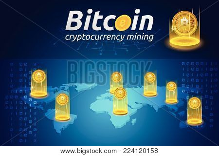 Golden Bitcoin in shining light effect on world map infographic. Blockchain technology for cryptocurrency. Letter B coins vector illustration