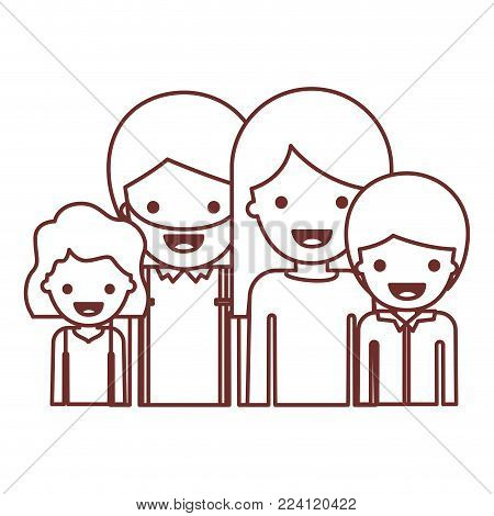 half body people with girl wavy hair and man with beard and woman with long straight hair and boy with short hair in brown contour vector illustration
