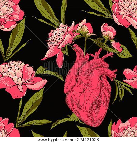 drawing Human anatomical heart with flowers, leaves. seamless pattern gift, congratulations on Valentine s Day vector