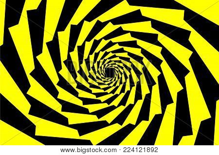 Spiral of rotating squares, Spiral from squares - black and yellow pattern