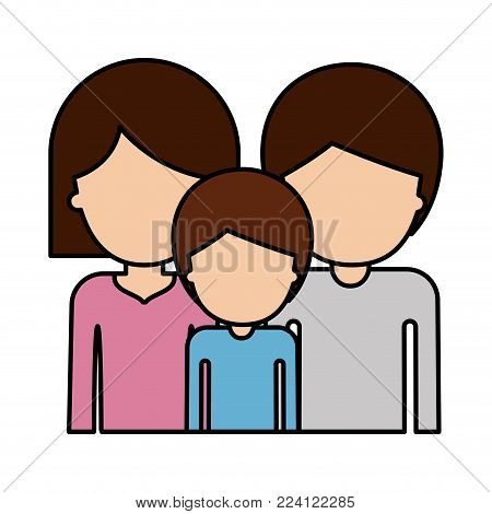 half body faceless people and woman mushroom hairstyle and man and boy with short hair in colorful silhouette with thick contour vector illustration