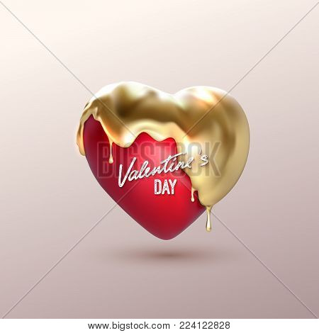 Valentines day. Realistic 3d heart shape with covering golden paint drips. Vector holiday illustration. Love sign with gold liquid. Decoration element for festive design.