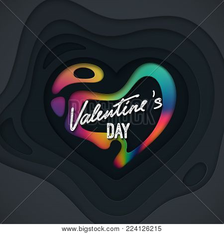 Valentines Day cover design. Black paper cut heart shape textured with liquid rainbow paint layer. 3d paper relief. Vector holiday illustration. LGBT concept