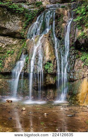 Waterfall and lanscape on Butterfly Valley nature park at spring time . Rhodes Island . Dodekanes , Greece .