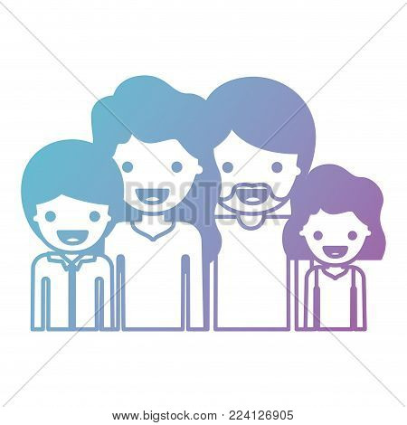 half body people with woman and girl wavy hair and man with beard and boy with short hair in degraded blue to purple color silhouette vector illustration