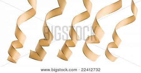 beige ribbon curl isolated on white poster
