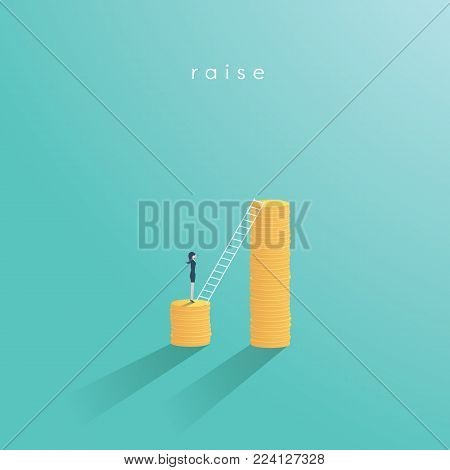 Salary raise vector concept. Business woman getting higher pay or wage. Climbing corporate ladder, increase in income. Eps10 vector illustration.