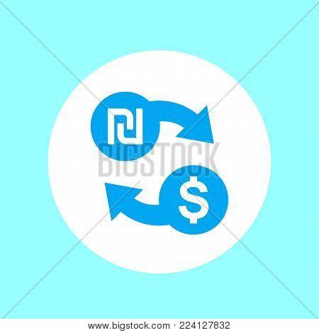 shekel to dollar exchange icon, eps 10 file, easy to edit