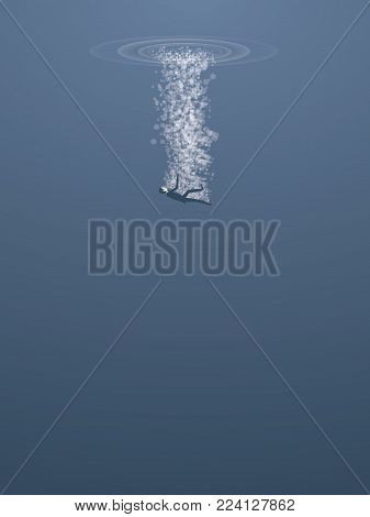 Businessman sinking and drowning in sea vector concept. Symbol of failure, bankruptcy, financial crisis. Eps10 vector illustration.