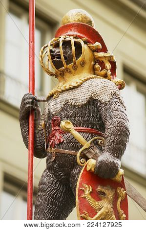 BERN, SWITZERLAND - FEBRUARY 23, 2012: Exterior detail of the Zahringerbrunnen statue - Warrior Bear Fountain in Bern, Switzerland.