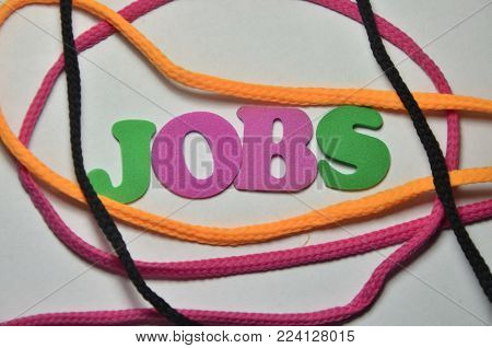 word jobs on an    abstract colored background