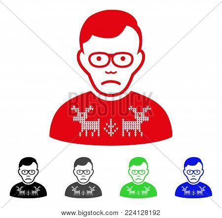 Dolor Deers Pullover Loser vector icon. Vector illustration style is a flat iconic deers pullover loser symbol with gray, black, blue, red, green color versions. Face has depression expression.