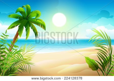 Sunny day on tropical sandy beach. Palm trees and sea paradise holidays. Vector cartoon nature illustration