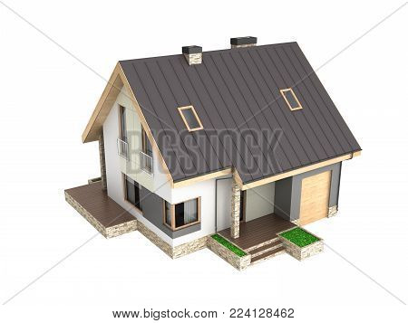Illustration of a modern house with a garage without shadow isolated on white background 3d render