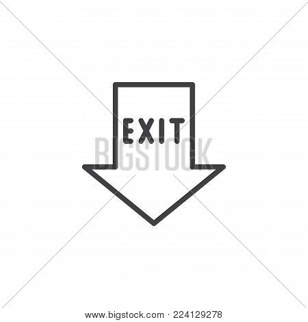 Emergency exit pointer line icon, outline vector sign, linear style pictogram isolated on white. Fire exit arrow symbol, logo illustration. Editable stroke