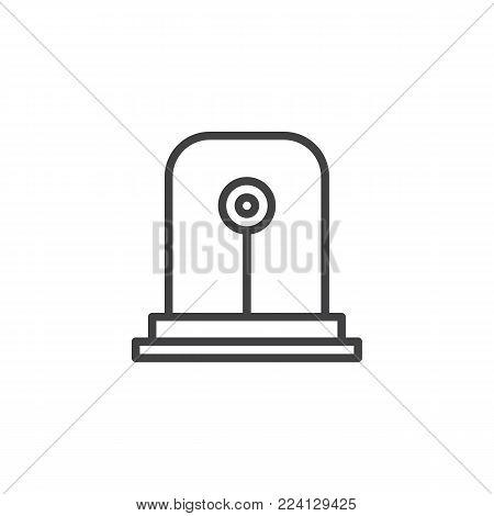 Fire alarm light line icon, outline vector sign, linear style pictogram isolated on white. Emergency siren symbol, logo illustration. Editable stroke
