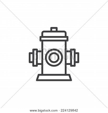 Fire fighting hydrant line icon, outline vector sign, linear style pictogram isolated on white. Fire safety symbol, logo illustration. Editable stroke