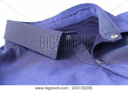 clasp button on the collar of a man's shirt