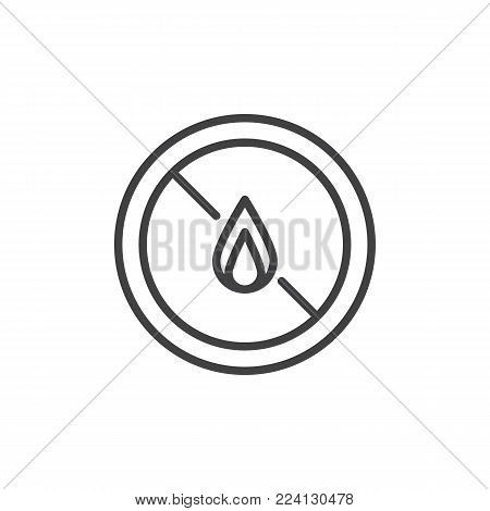 No expose flammable liquids line icon, outline vector sign, linear style pictogram isolated on white. No fire symbol, logo illustration. Editable stroke