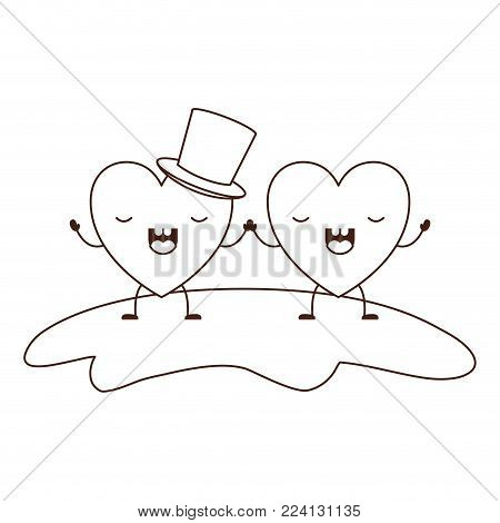 couple heart character kawaii holding hands and him with top hat in frightened expression in brown contour vector illustration