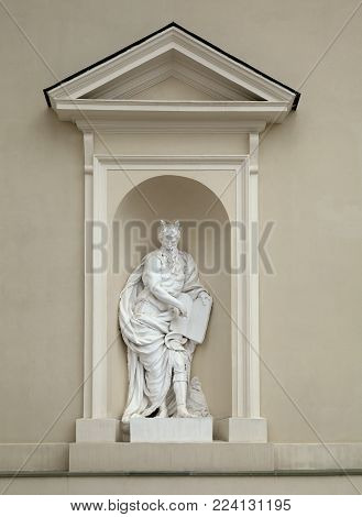 Niche sculpture of Moses on St. Stanislaus and St Ladislaus cathedral in Vilnius, Lithuania