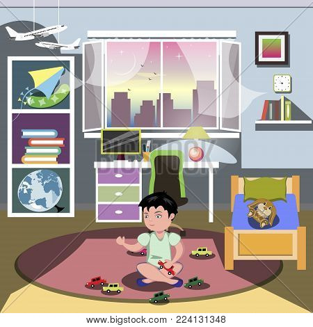 Boy in his bedroom. Vector illustration flat design