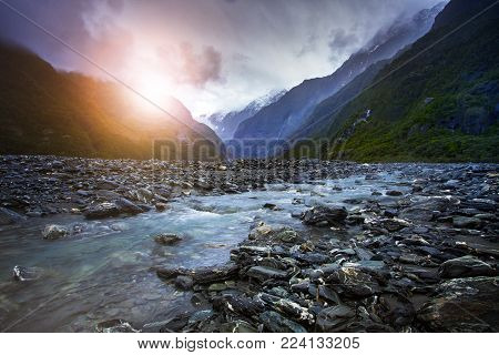 creek of franz josef glacier most popular traveling destination in west coast southland new zealand