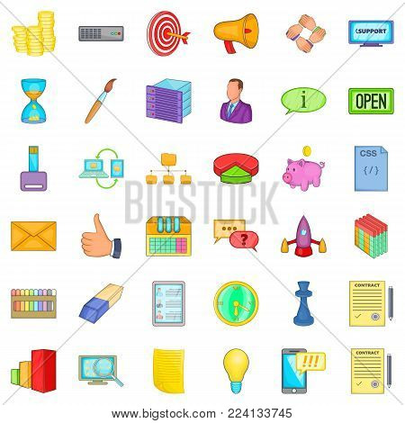 Implementing icons set. Cartoon set of 36 implementing vector icons for web isolated on white background