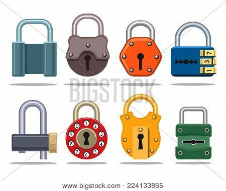 Vector locks. Colorful lock set with key hole and secret code, protective gear and safety password combination vector illustration