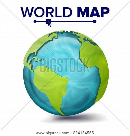 World Map Vector. 3d Planet Sphere. Earth With Continents. North America, South America, Africa, Europe Illustration