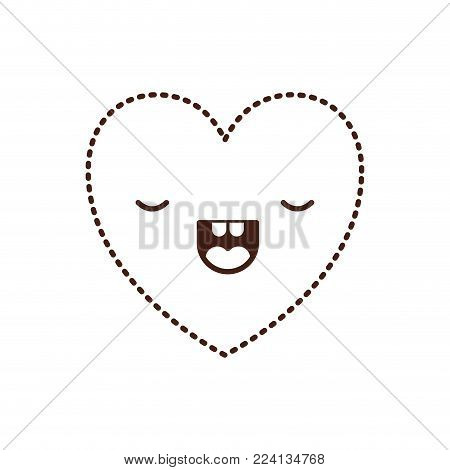 heart kawaii in frightened expression in brown dotted contour vector illustration