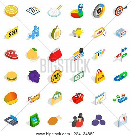 Available icons set. Isometric set of 36 available vector icons for web isolated on white background